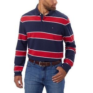 Tommy Hilfiger Men Striped Long Sleeve Rugby Polo